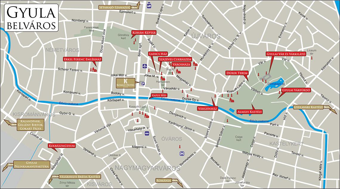 térkép gyula Kapcsolat, elérhetőségeink   Komló Hotel Gyula térkép gyula